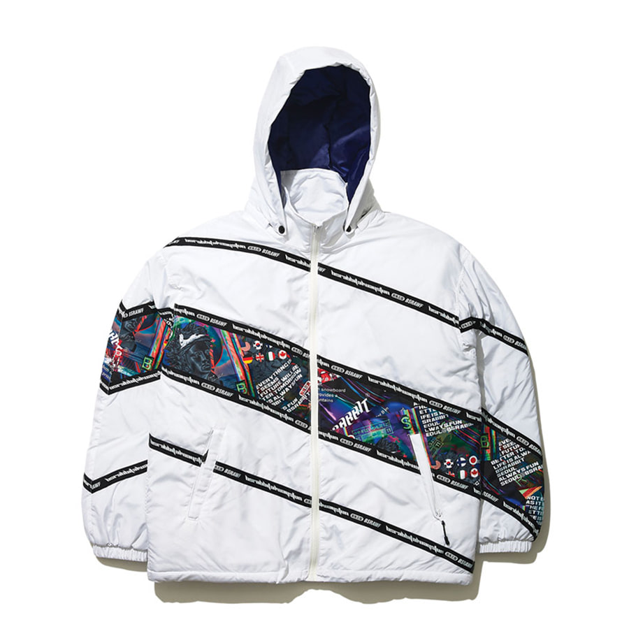 비에스래빗BSRABBIT 1920 DIAGONAL LINE PADDING JACKET WHITE