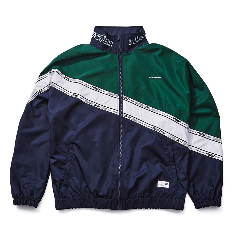비에스래빗BSRABBIT 1819 DIAGONAL LINE TRACK JACKET NAVY