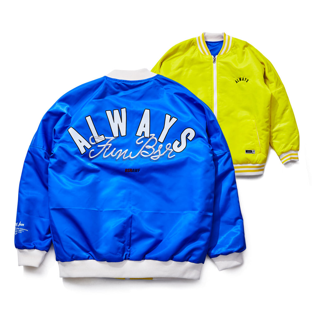 비에스래빗BSRABBIT 1819 CHILDHOOD REVERSIBLE STADIUM JACKET YELLOW/BLUE