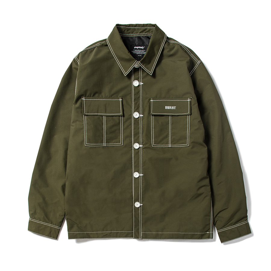 비에스래빗BSRABBIT 2021 STITCH BUTTON COACH JACKET OLIVE