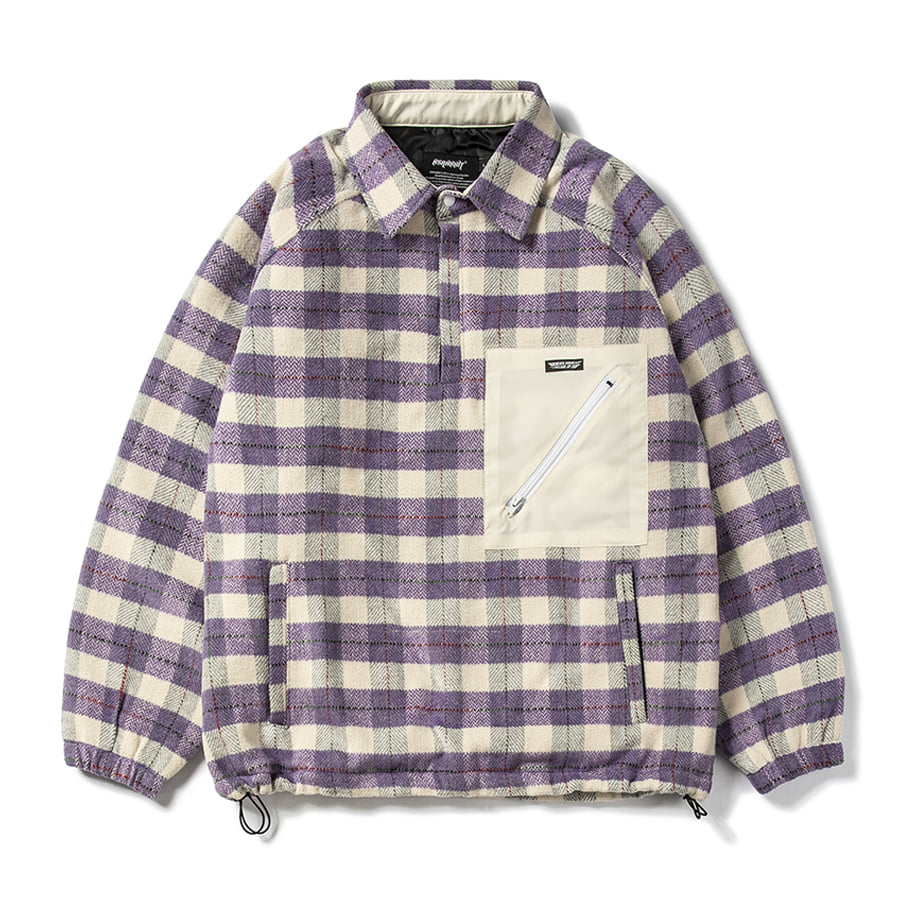 비에스래빗BSRABBIT 2021 BETTER THAN CHECK ANORAK SHIRT PURPLE CHECK